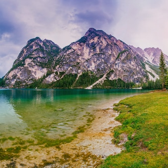 Mountain lake between by mountains