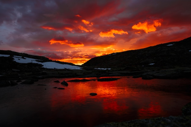 Mountain lake, norwegian landscape at sunset
