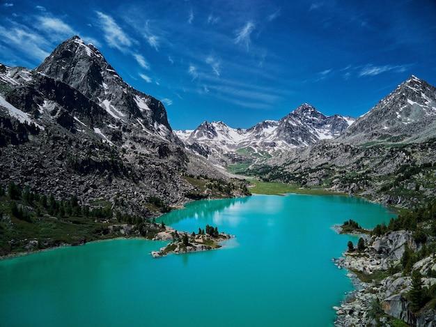 산 호수 러시아 서쪽 시베리아 알타이 산맥 카툰 능선