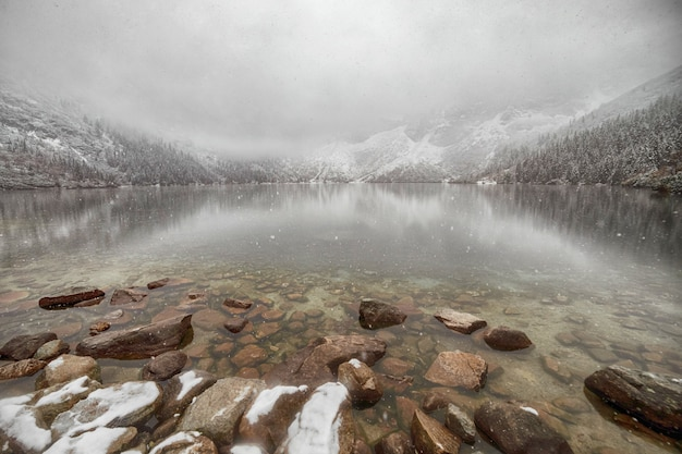 Mountain lake in winter. morske oko. poland