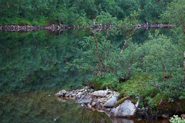 水が澄んだ山岳湖。ロシア、コラ半島。