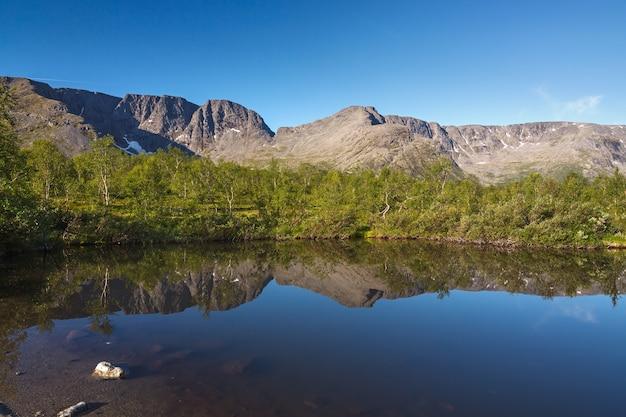 水が澄んだ山岳湖