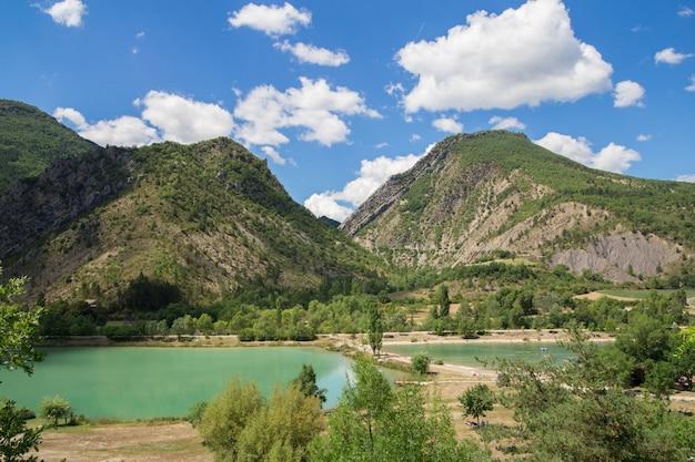 The mountain lake.