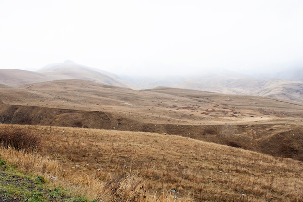 Mountain landscape in armenia cloudy day.