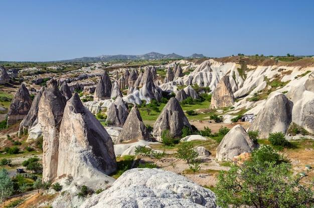 Mountain landscape. cappadocia, anatolia, turkey. volcanic mountains in goreme national park.
