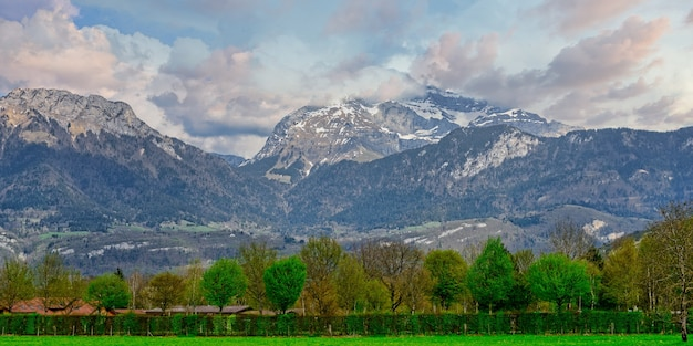 Mountain landscape in the french alps annecy