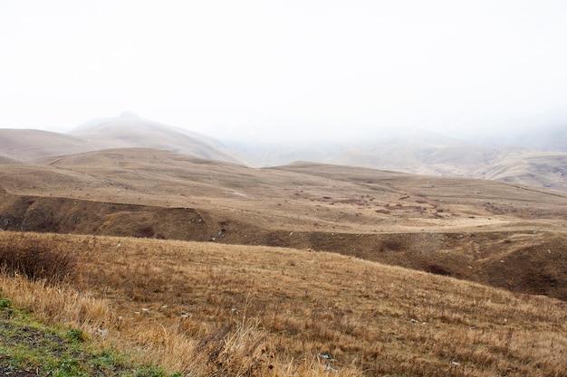 アルメニアの曇りの日の山の風景。