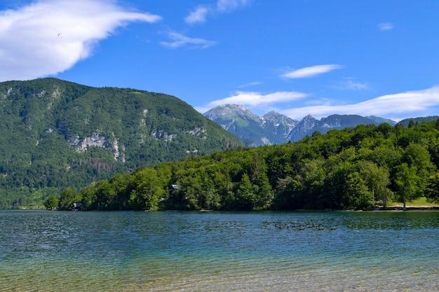 Mountain landscape, lake and mountain range – lake bohinj, slovenia, alps.