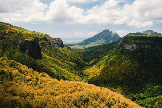 Горный пейзаж ущелья на острове маврикий, зеленые горы джунглей маврикия.