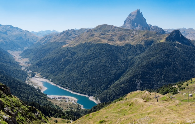 Mountain landscape in the pyrenees with lake