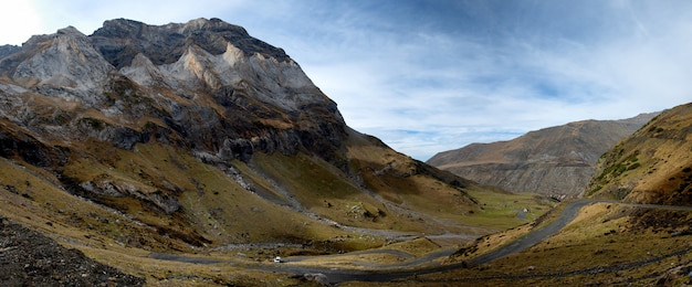 Mountain landscape in the pyrenees with small road