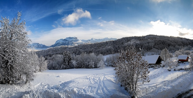 Mountain landscape in the snow in the alps