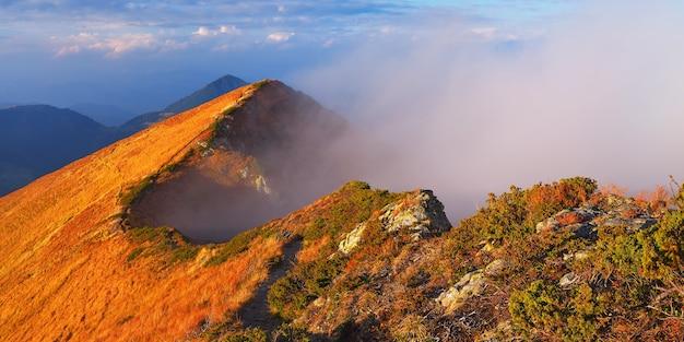 山の風景。昇る太陽の最初の光線。美しい赤い光。カルパティア山脈、ウクライナ、ヨーロッパ