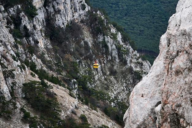 中央にロープウェイが移動する山の風景