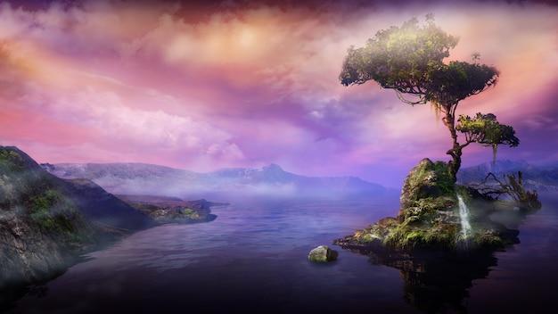 Горный пейзаж с деревом на озерном острове d визуализации