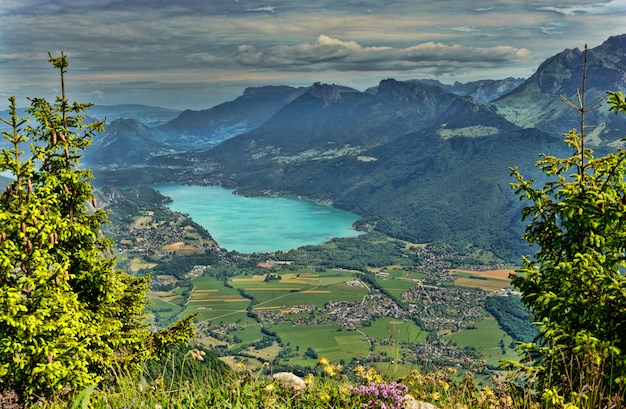 Mountain landscape with lake in the french alps