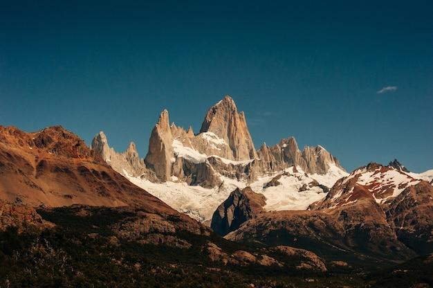 Mountain landscape with mt fitz roy and laguna de los tres in los glaciares national park, patagonia, argentina, south america.