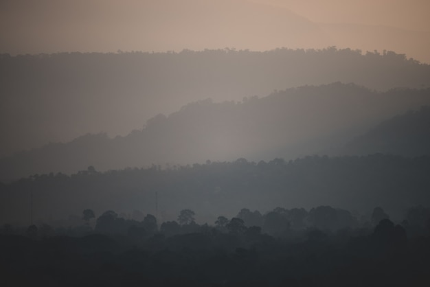 Mountain layers sunset, tropical forest landscape view, khao yai national park