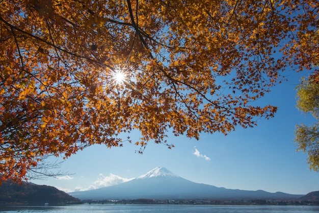 Mountain mt. fuji at garden and lake in japan with blue cloud sky and red maple tree