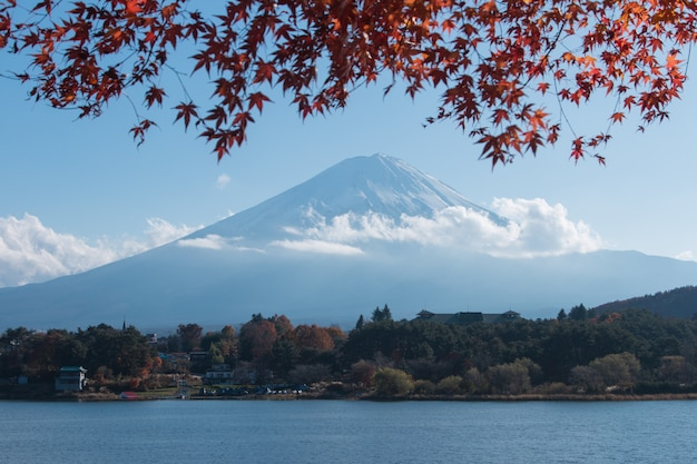 Mountain mt. fuji and lake in japan with blue cloud sky and red maple tree
