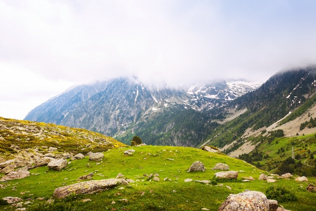 Mountain pass  in cloudy day. port de la bonaigua
