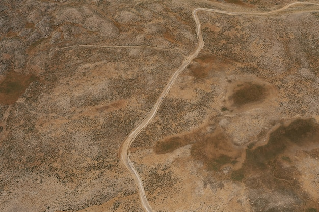Mountain path road on panoramic landscape