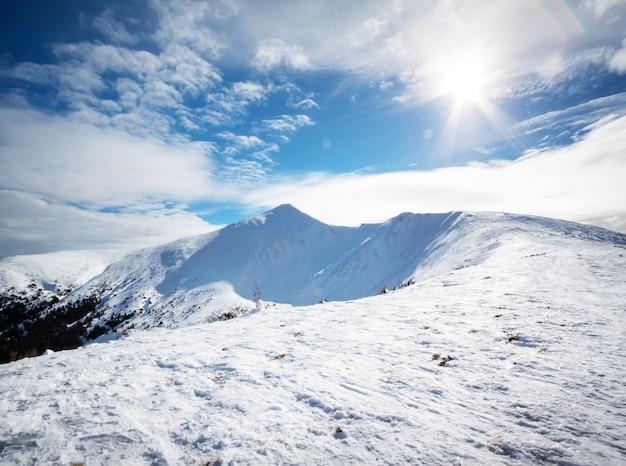 明るい太陽の下で雪の山のピーク