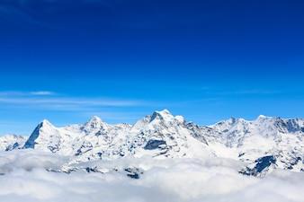 Mountain peak, view at schilthorn in Switzerland.