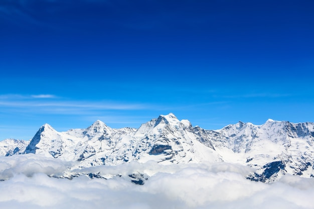 Mountain peak, view at schilthorn in switzerland.
