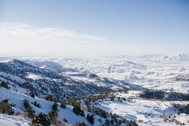 Заснеженные горные вершины в узбекистане в ясный день. горнолыжный курорт бельдерсай