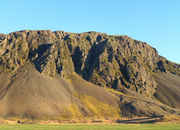 Mountain range in the early winter of south iceland
