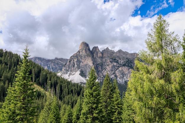 森に囲まれたイタリアのドロミテの山脈。トレンティーノアルトアディジェ、イタリア