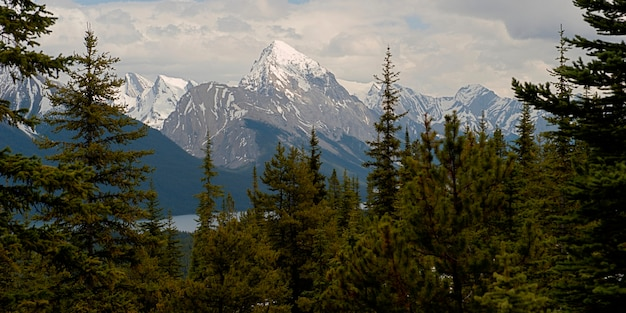 Горный хребет, пик самсон, озеро малинье, национальный парк джаспер, альберта, канада