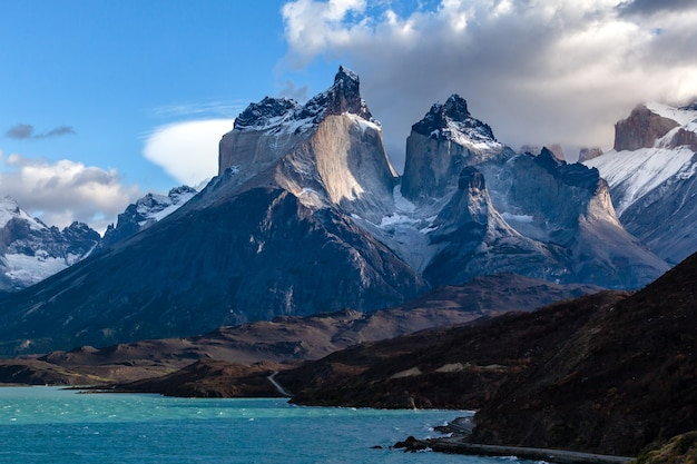Mountain range in torres del paine national park