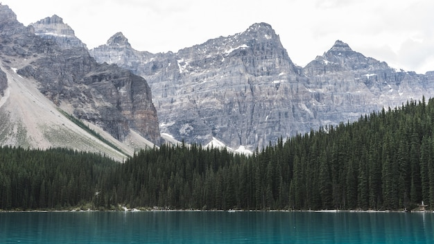Catene montuose vicino allo specchio d'acqua durante il giorno