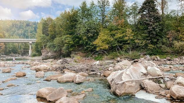 카르파티아 우크라이나의 아름다운 숲 사이로 흐르는 가을 산 강