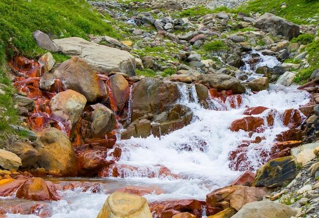 Mountain river landscape, red river, in khazbegi, georgia