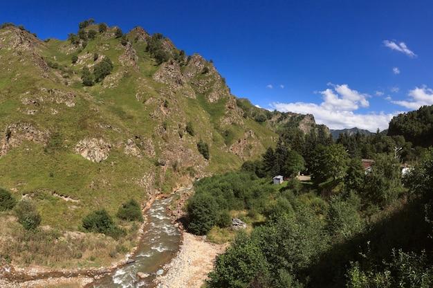 コーカサス山脈の流れが速い山の川