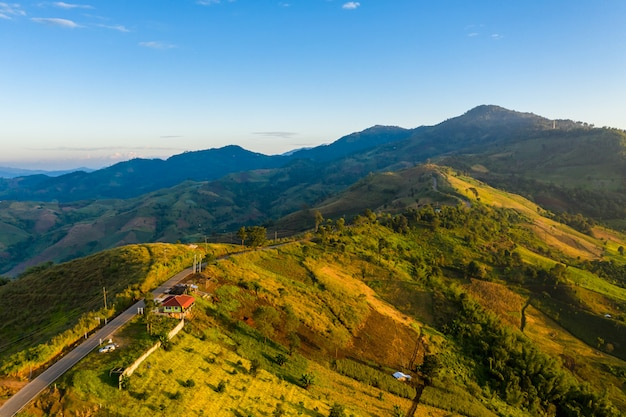 Mountain road connection the city and blue sky background at morning time chiang rai thailand