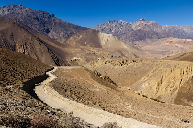 Mountain road from jomsom to muktinath, nepal