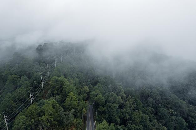 비오고 안개 낀 날의 산악 도로, 빠이로 가는 길
