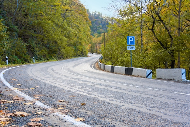 Mountain road with hairpin turns