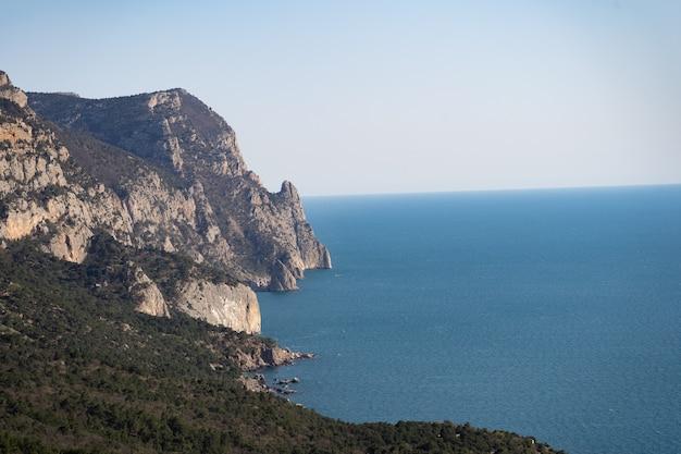 Горное море, побережье, океан, вид с воздуха, деревья растут на берегу бескрайнего синего моря, отдыхая за границей, чтобы ...