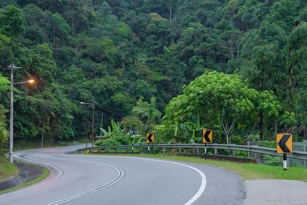 アジアの山のジャングルの山の曲がりくねったアスファルト道路。