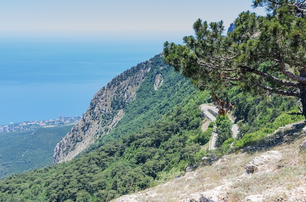 Mountain slope with a road near the sea coast