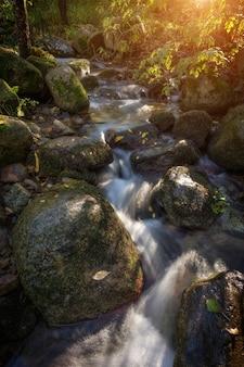 Горный ручей в скалах осенью в моншике. португалия.