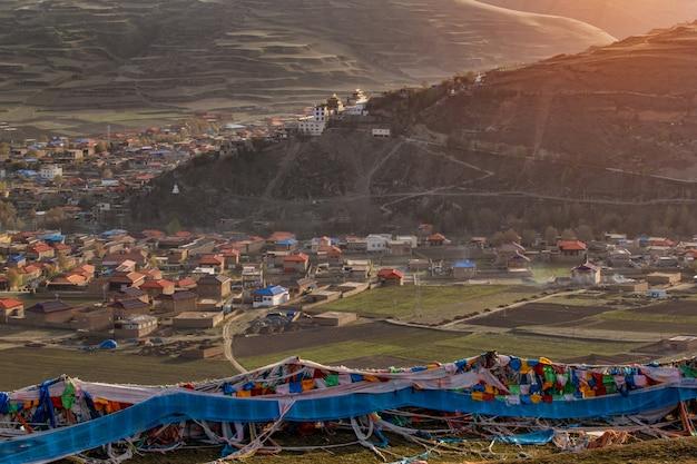 Mountain valley during bright sunrise. beautiful natural landscape, ganzi sichuan, china.