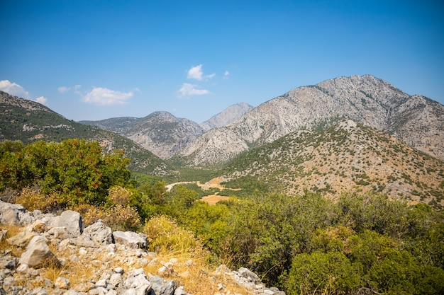 Mountain view from termessos ancient city near antalya in turkey