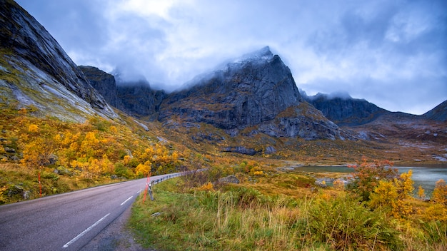 Mountain view in lofoten islands at rainy day