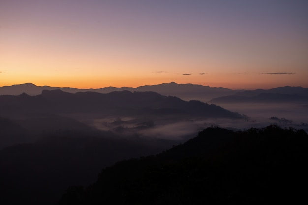 Mountain view and morning mist